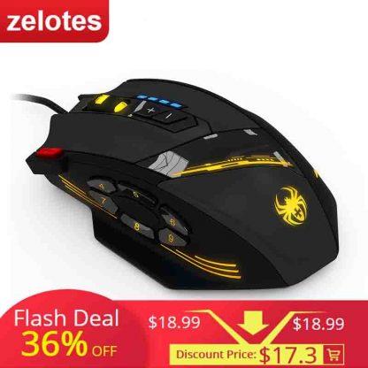 게이밍마우스 ZELOTES C-12 Wired USB Optical Gaming Mouse 12 Programmable Buttons Computer Game Mice 4 Adjustable DPI 7 LED Lights