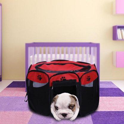 휴대용 강아지 하우스 접이식 텐트형 Portable Folding Pet Tent Dog House Cage Dog Cat Tent Playpen Puppy Kennel Easy Operation Octagonal Fence Outdoor Supplies 2