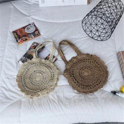 Bohemian Straw Bags for Women Circle Beach Handbags Summer Rattan Shoulder Bags Handmade Knitted Travel Big Totes Bag 2019 New 3