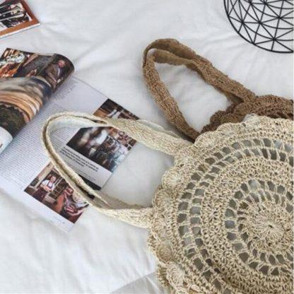 Bohemian Straw Bags for Women Circle Beach Handbags Summer Rattan Shoulder Bags Handmade Knitted Travel Big Totes Bag 2019 New 5