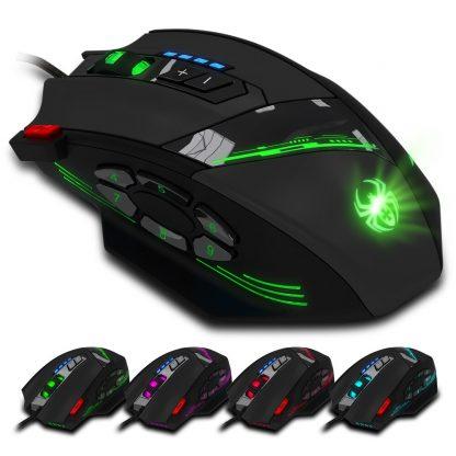 게이밍마우스 ZELOTES C-12 Wired USB Optical Gaming Mouse 12 Programmable Buttons Computer Game Mice 4 Adjustable DPI 7 LED Lights 2
