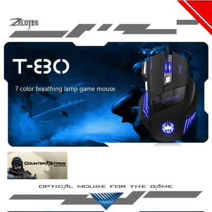 게이밍 마우스 ZELOTES T-80 Gaming Mouse 7200 DPI Backlight Multi Color LED Optical 7 Button Mouse Gamer USB Wired Gaming Mouse for Pro Gamer 5