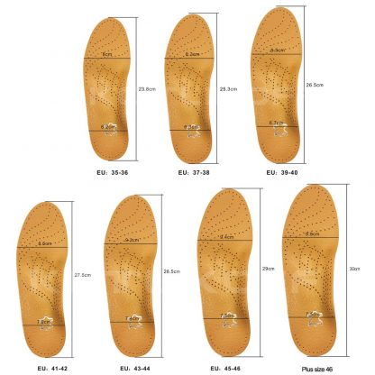 KOTLIKOFF High quality Leather orthotics Insole for Flat Foot Arch Support 25mm orthopedic Silicone Insoles for men and women 4