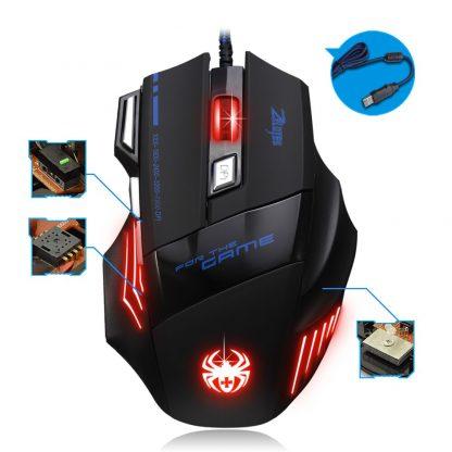 게이밍 마우스 ZELOTES T-80 Gaming Mouse 7200 DPI Backlight Multi Color LED Optical 7 Button Mouse Gamer USB Wired Gaming Mouse for Pro Gamer 4