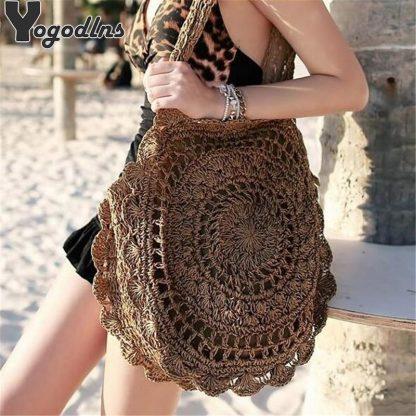 Bohemian Straw Bags for Women Circle Beach Handbags Summer Rattan Shoulder Bags Handmade Knitted Travel Big Totes Bag 2019 New