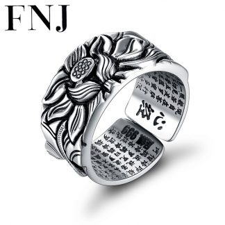 925 Silver Lotus Rings Good Luck Buddha Adjustable Size Trendy Popular S925 Solid Thai Silver Ring for Women Men Jewelry