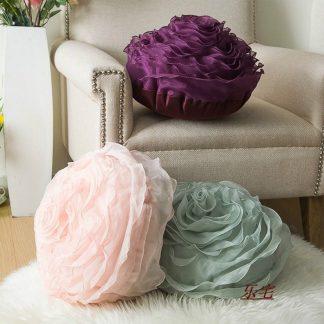 장미모양 홈데코 쿠션Elegant 3D Yarn Rose Cushion Romantic Flower Sofa pillow bed Flower Pillow Wedding Decor Rose Cushion Valentine's Day Lover Gift