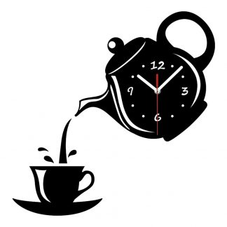 DIY 홈 거실 장식 벽시계 Creative DIY Acrylic Coffee Cup Teapot 3D Wall Clock Decorative Kitchen Wall Clocks Living Room Dining Room Home Decor Clock 039