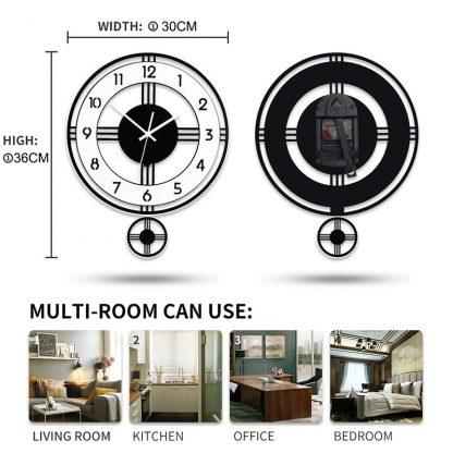 모던 클래식 거실 벽시계 Swingable Silent Large Wall Clock Modern Design Battery Operated Quartz Hanging Clocks Home Decor Kitchen Watch Free Shipping 1