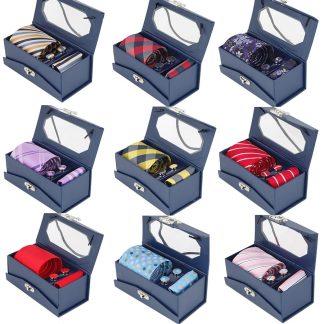 RBOCOTT Tie Set For Men Mens Jacquard Woven Tie & Handkerchief & Cufflinks & Gift Box Set Wedding Party Corbatas Classic Necktie