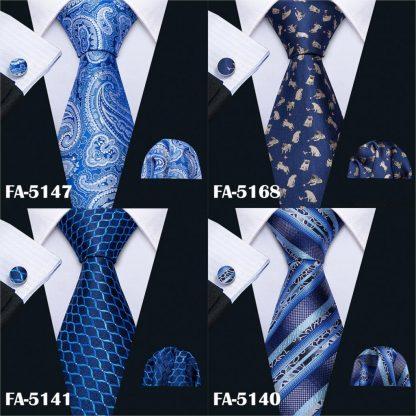 Designer Ties For Men 20 Styles Blue Fashion Silk Neckties Hanky Cufflinks Set For Men Wedding Party Tie Set Barry.Wang BL-01 5