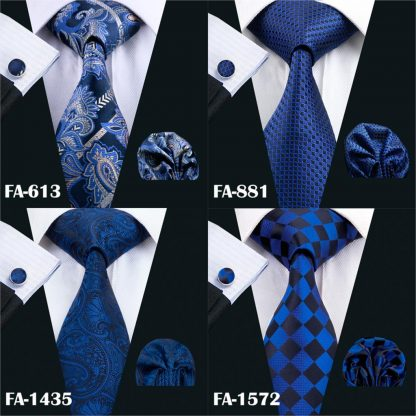Designer Ties For Men 20 Styles Blue Fashion Silk Neckties Hanky Cufflinks Set For Men Wedding Party Tie Set Barry.Wang BL-01 3
