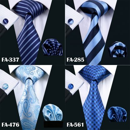 Designer Ties For Men 20 Styles Blue Fashion Silk Neckties Hanky Cufflinks Set For Men Wedding Party Tie Set Barry.Wang BL-01 2