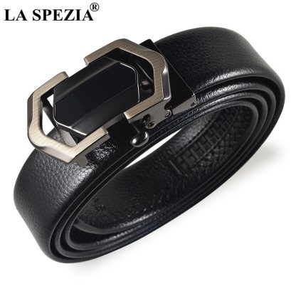 LA SPEZIA Leather Belt Men Black Automatic Belts No Holes Male Business Office PU Leather Classic Brand Designer Suit Belts 1