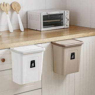 Push-top Trash Can Chef Hanging Automatic Return Lid for Fruit and Vegetable Pericarp-Small Garbage Cabinet Cupboard Kitchen