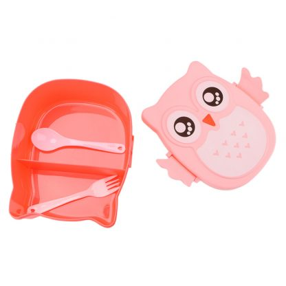 Cute Cartoon Owl Lunch Box Food Container Storage Box Portable Kids Student Lunch Box Bento Box Container With Compartments Case 5