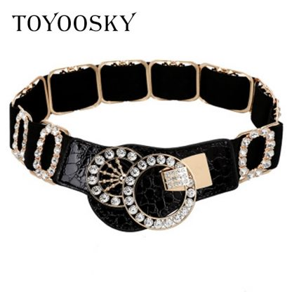 2019 New Arrival  Designer Luxury Elastic Women Wide Belt with Rhinestone belts for women Ceinture Femme High Quality TOYOOSKY 3