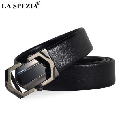 LA SPEZIA Leather Belt Men Black Automatic Belts No Holes Male Business Office PU Leather Classic Brand Designer Suit Belts 3