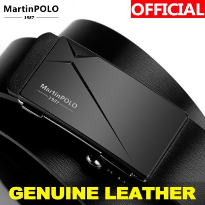 MartinPOLO Men's Automatic Genuine Leather Business Belts Men Toothless Belt Alloy Buckle Cowhide Strap For Male MP01301P