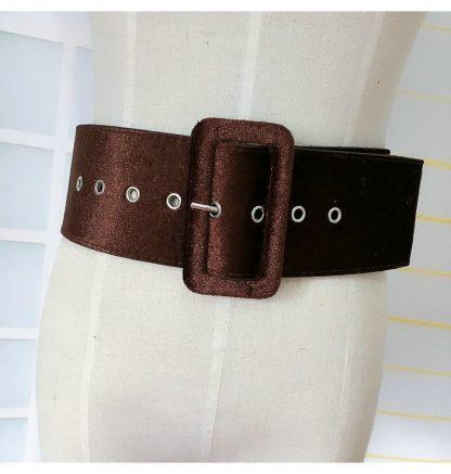New Design Wide belt female dress belts decorate waistband fashion silver pin buckle Velvet belt party belt black flannel women 1