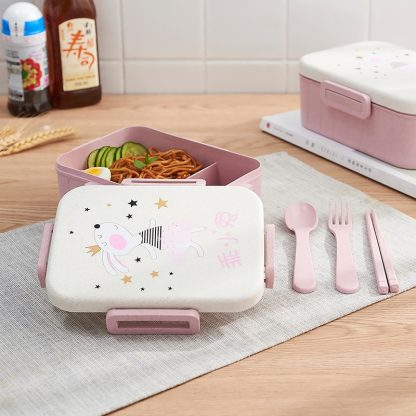 TUUTH Cute Cartoon Lunch Box Microwave Dinnerware Food Storage Container Children Kids School Office Portable Bento Box 2