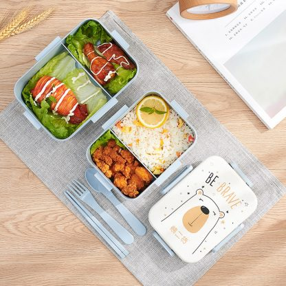 TUUTH Cute Cartoon Lunch Box Microwave Dinnerware Food Storage Container Children Kids School Office Portable Bento Box 4