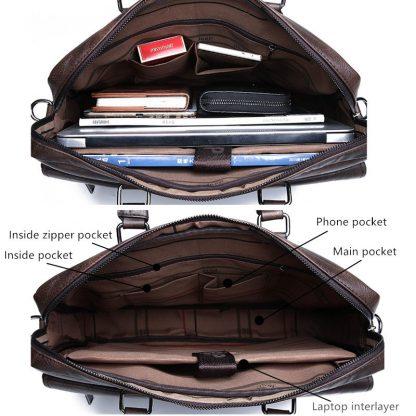 JEEP BULUO Men Briefcase Bag High Quality Business Famous Brand Leather Shoulder Messenger Bags Office Handbag 14 inch Laptop 4