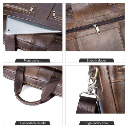 WESTAL Bag men's Genuine Leather briefcase Male man laptop bag natural Leather for men Messenger bags men's briefcases 2019 5