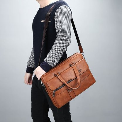 JEEP BULUO Men Briefcase Bag High Quality Business Famous Brand Leather Shoulder Messenger Bags Office Handbag 14 inch Laptop 5