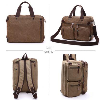 Scione Men Canvas Bag Leather Briefcase Travel Suitcase Messenger Shoulder Tote Back Handbag Large Casual Business Laptop Pocket 1