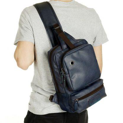 Zebella Brand Men's Shoulder Bag Vintage Men Crossbody Bag Men Chest Bags Casual Fashion PU Leather Men Messenger Bag  3