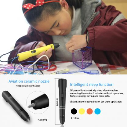 QCREATE ABS/PLA dual mode 3D Printing Pen LCD display 3Doodler Scribble Pen Speed Temperature adjustable free 10M PLA filament 4