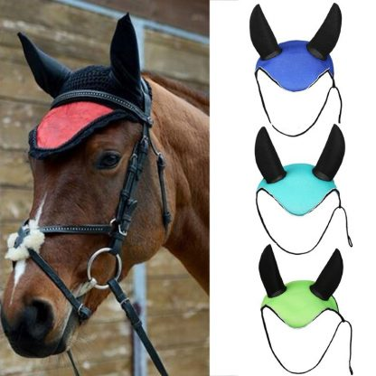 Horse riding breathable mesh horse earmuffs luminous equestrian competition horse equipment flying mask cap ear horse protection 2