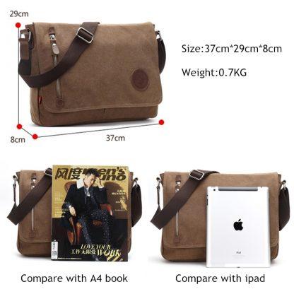 Augur 2018 Canvas Leather Crossbody Bag Men Military Army Vintage Messenger Bags Shoulder Bag Casual Travel school Bags  5