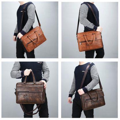 JEEP BULUO Men Briefcase Bag High Quality Business Famous Brand Leather Shoulder Messenger Bags Office Handbag 14 inch Laptop 2