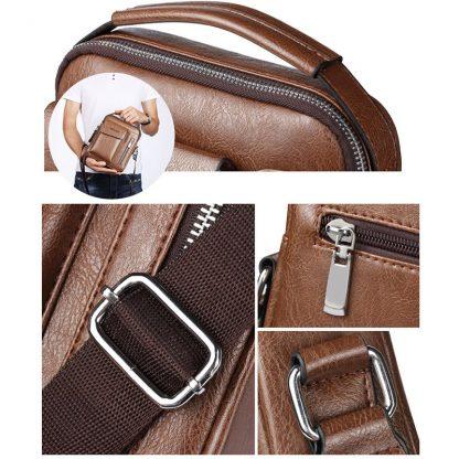 Vintage Messenger Bag Men Shoulder bags Pu Leather Crossbody Bags For Men Bags Retro Zipper Man Handbags WBS510 2