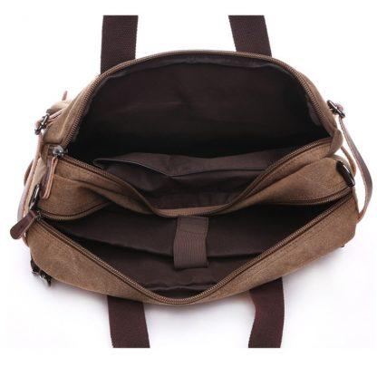 Scione Men Canvas Bag Leather Briefcase Travel Suitcase Messenger Shoulder Tote Back Handbag Large Casual Business Laptop Pocket 4