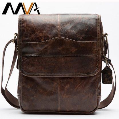 MVA Shoulder Bag for Men Men's Genuine Leather Bag Vintage Messenger Bags Men Leather Small Crossbody Bags for ipad handbag 1121