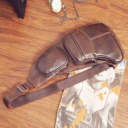 High Quality Men Genuine Leather Cowhide Vintage Sling Chest Back Day Pack Travel fashion Cross Body Messenger Shoulder Bag 3