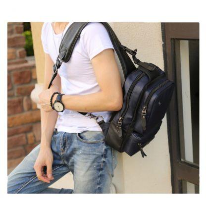 Zebella Brand Men's Shoulder Bag Vintage Men Crossbody Bag Men Chest Bags Casual Fashion PU Leather Men Messenger Bag  5