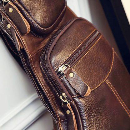 High Quality Men Genuine Leather Cowhide Vintage Sling Chest Back Day Pack Travel fashion Cross Body Messenger Shoulder Bag 5