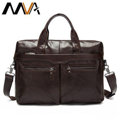 MVA Leather Briefcases men laptop male messenger bag Men's Genuine leather shoulder bags briefcase for documents  handbag 9005