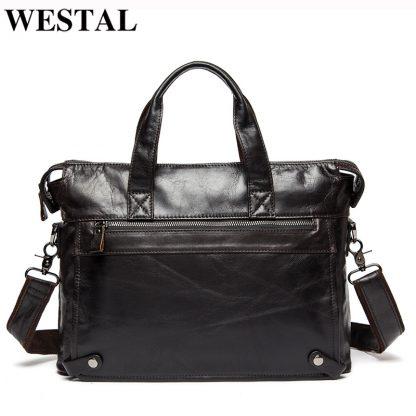 WESTAL Men Briefcases Genuine Leather Men's Bag Business Briefcases laptop Handbags Messenger Bag Men Leather Office Bag 9013