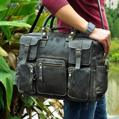 Men Real Leather Antique Large Capacity Travel Briefcase Business 15.6 4