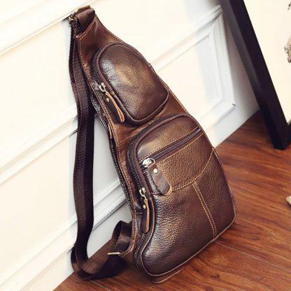 High Quality Men Genuine Leather Cowhide Vintage Sling Chest Back Day Pack Travel fashion Cross Body Messenger Shoulder Bag 1