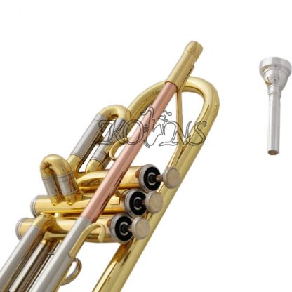 Top New Gold C Key Trumpet with Cupronickel Tuning pipe horn With Case 3