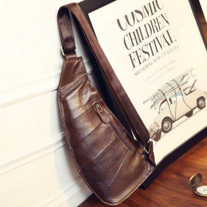 High Quality Men Genuine Leather Cowhide Vintage Sling Chest Back Day Pack Travel fashion Cross Body Messenger Shoulder Bag 2