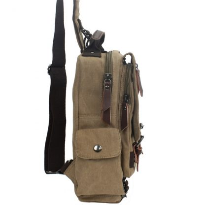 Tourya Canvas Crossbody Bags for Men Women Retro Leather Military Messenger Chest Bag Shoulder Sling Bag Large Capacity Handbag 2