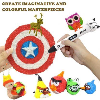 dikale 3d pen 3d pens 1.75mm PLA Filament scribble pen Best Gift for Kids 3d drawing pen-3d model Creative 3 d cute cat pen 1