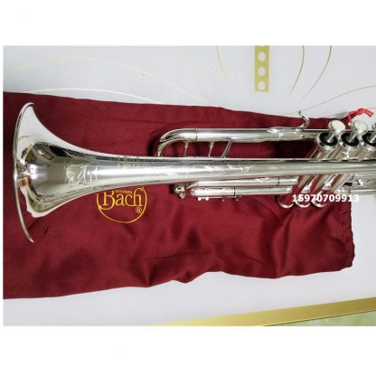 Bach AB-190S Brand Quality Bb Trumpet Brass Tube Silver Plated Professional Musical Instruments With Case Mouthpiece Accessories 5